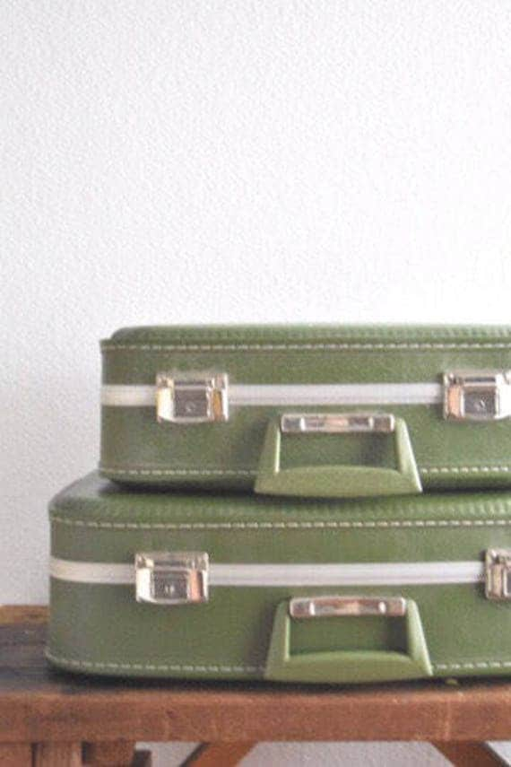 vintage set of locking green nesting train case / luggage / carry on / suitcase