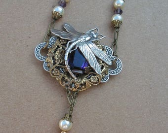 Dragonfly and Amethyst crystal Victorian Goth Antique Bronze necklace