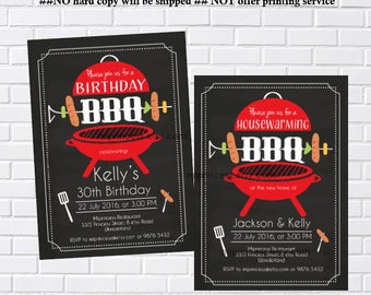 housewarming invitation, bbq invitation,  Birthday BBQ, New House party, BBQ  Invitation, Chalkboard Backyard, Barbecue  - card 408
