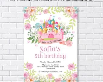 princess castle birthday party invitation. castle 1st 2nd 3rd 4th 5th 6th 7th 8th 9th 10th kids, little girl party invite card 1288