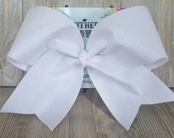 White Glitter Cheer Bow, White Cheer Bow, White Sparkle Cheer bow, White Bow, Glitter Cheer bow, Cheer Bow, Glitter bow, sparkle bow