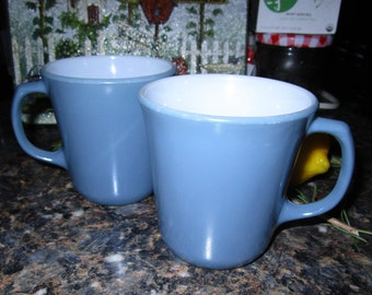 Two Vintage Blue Wedgwood Coffee Cups / Mugs by Pyrex