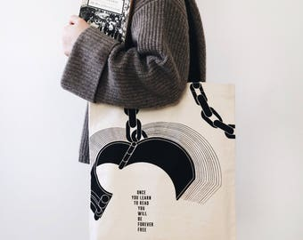 Literary Tote Bag, Unchained, Handmade canvas tote bag with pocket, canvas bag, quote bag, Bookish tote bag, Gifts for Writers, beach bag