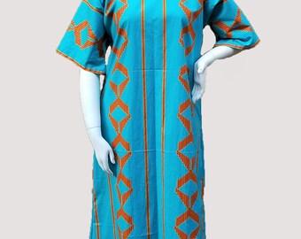 Vibrant blue African Print Kitenge Dolman sleeve dress with Scarf (size: US 10- US 14)