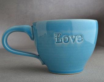 Love Coffee Mug Ready To Ship Love Coffee Tea Cocoa Mug by Symmetrical Pottery