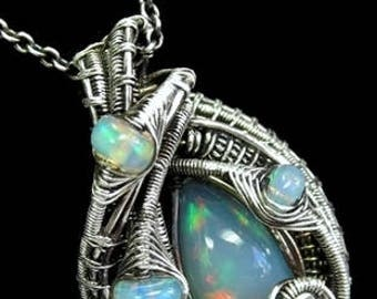 Wire-Wrapped Ethiopian Welo Opal Pendant in Antiqued Sterling Silver