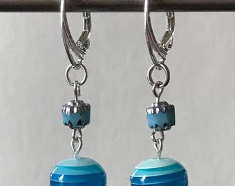 Blue stripey earrings