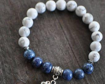 Bracelet pierres naturelles - 16/17 cm - Blanc - Bleu - Jeans - Bracelet éléphant - Coco Matcha
