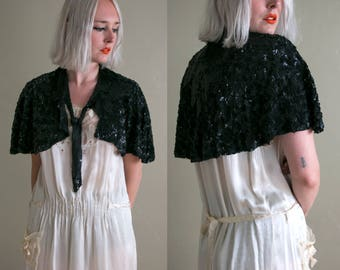 1930's French Deco Sequined Capelet / Art Deco / Made in France / Women's Cape / Black Sequins / One Size / Vintage Antique