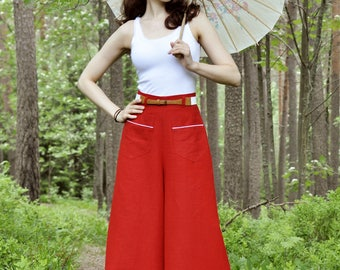 30s style high waisted palazzo pants in red linen, size US 0 to 16 / wide leg trousers / vintage style / beach wear