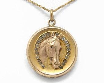 Edwardian Gold Filled Horse Locket, Ruby Eyes, Mother Baby Photos, Repousse Locket, Paste Stones, Antique Estate Jewelry