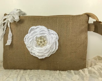 Bridal Clutch, Bridesmaid Bags, Bridesmaid Gifts, Wedding Clutches, Wedding Bags and Purses, Wedding Party Gifts, Rustic Wedding, Burlap Bag