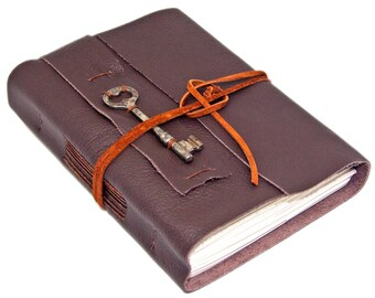 Brown Leather Journal - Skeleton Key Bookmark - Lined Paper - Travel Journal - Rustic - Wrap Journal - Art Sketchbook - Diary - Handmade