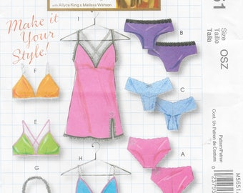 McCall's 5651 Misses Panties, Bras, Camisole and Slip Sewing Pattern  XS to Large.  Bust 29 1/2 to 40