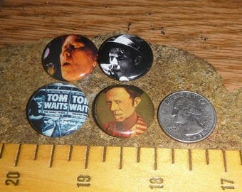 TOM WAITS 4 Buttons one inch pinback badge set