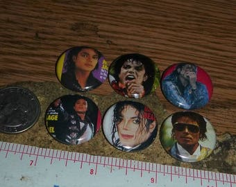MICHAEL JACKSON 6 one inch pin back buttons badge set