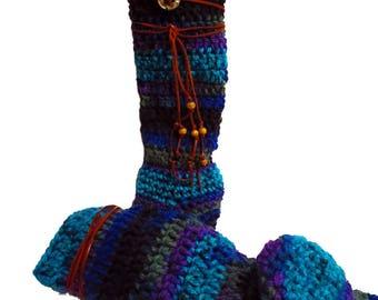 """Slipper Socks Women, 15"""" Tall, Handmade Socks, Optional Add NonSkid Bottoms, Boho Socks, Hippie Clothes, Boot Socks"""