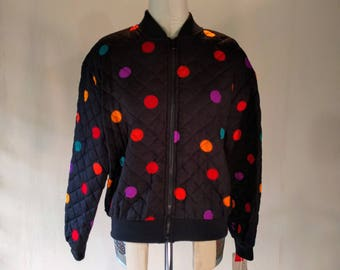 Colorful Quilted Polka Dot Bomber Jacket Top