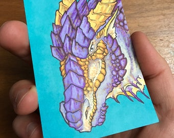 Purple Dragon Illustration - Fantasy ACEO Original Art Card - Miniature Drawing