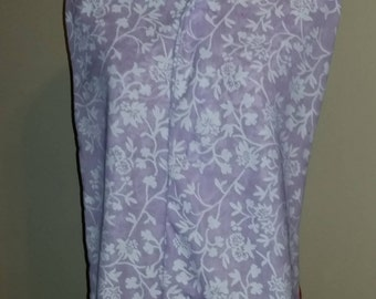 Adult Clothing Protector, Shirt Saver, Dining Scarf - White Floral Vine on Lavender purple flowers