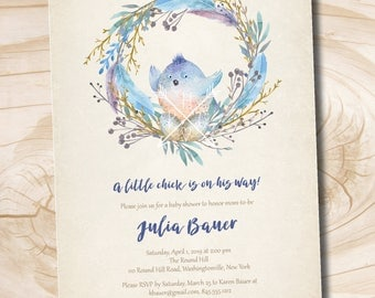 BLESS THIS NEST Watercolor Bird Nest Baby Shower invitation - Printable Digital file or Printed Invitations
