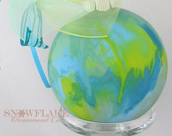 BRIGHT WATERCOLOR  Custom Christmas Ornament - Personalized Glass Gift