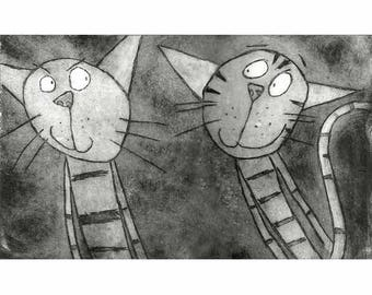 Psst! - Original limited edition stripy cat print, cat etching cat art hand-printed black and white cat prints, funny cat unframed