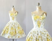 Vintage 50s Dress/ 1950s Cotton Dress/ Melo Of California Yellow Floral Border Print Cotton Dress w/ Spaghetti Straps M