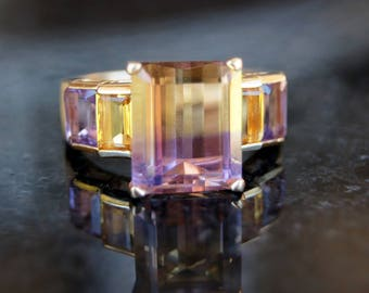 Modern Ametrine Two Color 14K Gold Ring Amethyst and Citrine