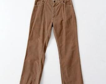 vintage 70s cords, brown straight leg corduroys, 35 x 31