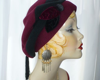 Women's Maroon and Black Fleece Beret with Handmade Velvet Leaves, Button and Tassel