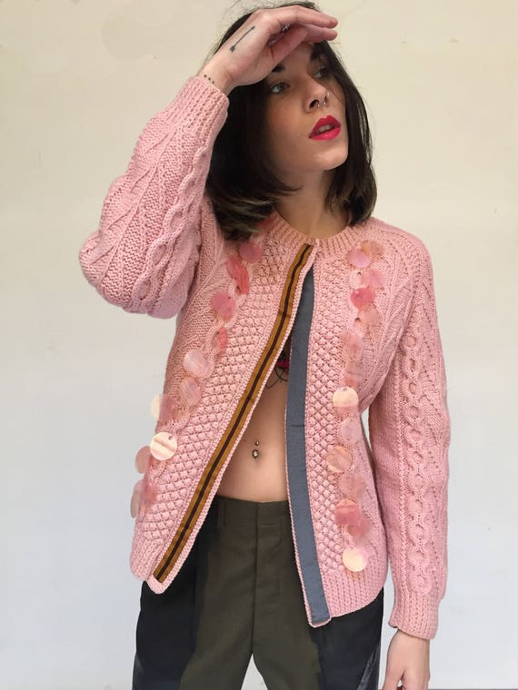 Peach Pink color Sweater handmade Knitting Wool LOLA DARLING Cardigan Recycled by Vintage Garment sequin embroidery Unique Piece
