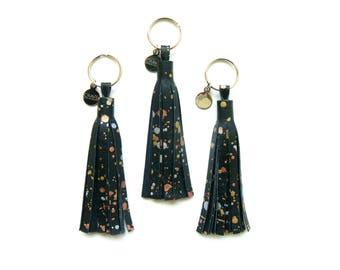 "4"" Metallic Splatter Leather Tassel   Purse Charm   Grad Gift   Key Tassel   Purse Tassel   Fringe Keychain   Key Chain   Bridesmaid Gift"