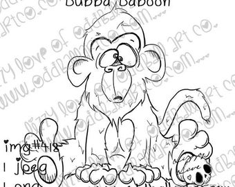 Digital Stamp Instant Download Cute & Fun Cartoon Animal ~ Bubba Baboon Image No. 418 by Lizzy Love