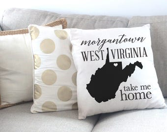 Morgantown WV, Take Me Home, West Virginia Cotton Wedding Pillow Cover, Wedding Gift, Cotton Anniversary