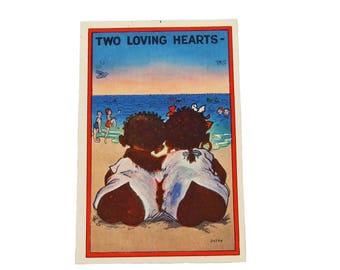 Vintage Authentic Black Americana Postcard 2 Loving Hearts Unused Postcard Politically Incorrect Classic Black Americana Postcard
