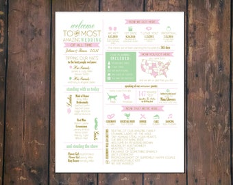 8x10 Infographic Wedding Program