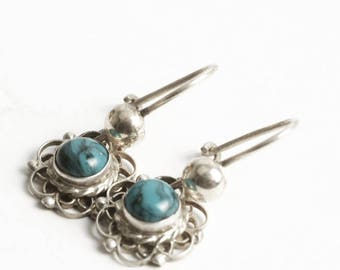 Teal Blue Earrings, Vintage Earrings, Sterling Silver Filigree, 925 Beads, Blue and Black Round Stones, Vintage Lover Gift for Her (V6868