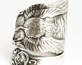 Wide Phoenix Rising Ring, Sterling Silver Spoon Ring, Handmade Jewelry, Phoenix Wings, Pheonix, Gift for Him or Her, Adjustable Ring (7034)