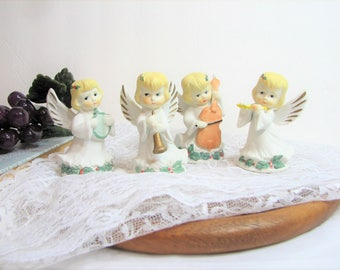 Quartet of Christmas Angel Figurines, Playing Instruments, Set of 4 Miniature Angels ... Cottage Chic, Pastel Christmas Decor