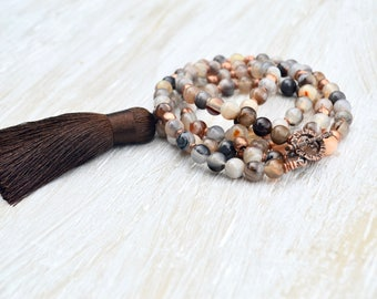 Brown Tassel Necklace, Long Agate Necklace, Boho Tassel Necklace, bohemian Tassel Jewelry, Long Layering Necklace