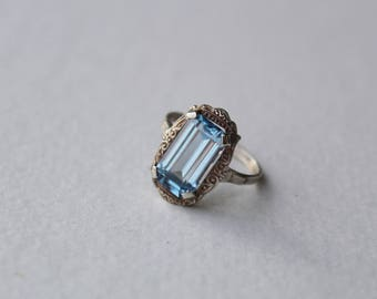 Vintage Art Deco European Blue Spinel and 835 Silver Ring Size 6.25