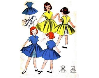 1950s Girls Dress Pattern Size 3, Short sleeve dress with cuffs and over-dress, Butterick 7591 Vintage