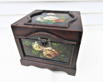 Vintage Wooden Chest | Hand Painted Wood Box | Wedding Chest | Small Wooden Trunk