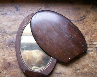 Vintage Handmade Wood Travel Mirror with Sliding Cover