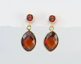 Garnet Earrings - January Birthstone Earrings - Gold Garnet Earrings - Small Drop Earrings - Post Earrings - Green Earrings