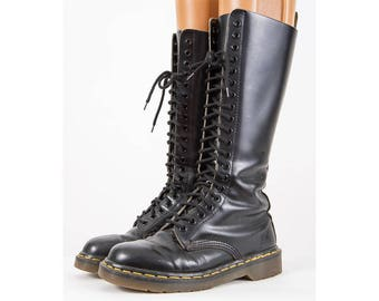 Vintage Doc Marten boots / Made in England / 1990s 20 eye eyelet hole lace up black quillion leather knee high work boots / US 6 UK 4