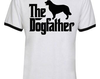 The Dogfather Golden Retriever Shirt - The Dog Father Golden Retriever Shirt - Dog Dad - Men Unisex Ringer Tee T-Shirt - IZRSUB152