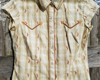 Vintage 1970's Roper Western Button-Down Cactus-Embroidered Tee - XS