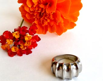 Sterling Fashion Ring - Silver - Segments - Minimalist - Thumb Ring